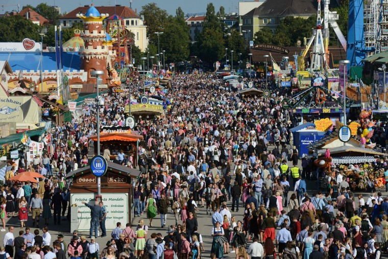 An overview shows the Theresienwiese Oktoberfest fair grounds in Munich, southern Germany, on September 22, 2016. Oktoberfest, the world's biggest beer festival, runs until October 3, 2016. (Christof Stache/AFP/Getty Images)