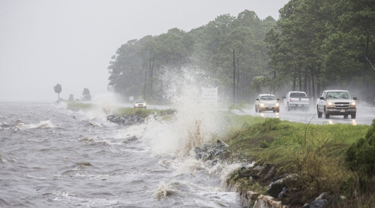 Traffic drives along US 98 as Hurricane Hermine approaches on September 1, 2016 in Eastpoint, Florida. Hurricane warnings have been issued for parts of Florida's Gulf Coast as Hermine is expected to make landfall as a Category 1 hurricane. (Photo by Mark Wallheiser/Getty Images)