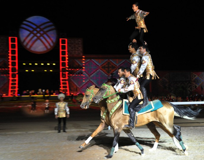 Artists perform during the opening ceremony of the World Nomad Games 2016 at the hippodrome of Cholpon-Ata on the shores of Lake Issyk-Kul, some 270 kms outside the capital Bishkek, on September 3, 2016. (VYACHESLAV OSELEDKO/AFP/Getty Images)