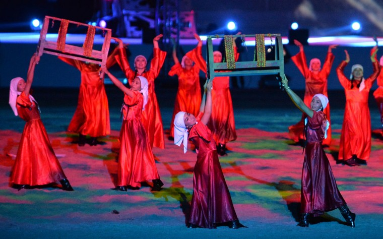Dancers perform during the opening ceremony of the World Nomad Games 2016 at the hippodrome of Cholpon-Ata on the shores of Lake Issyk-Kul, some 270 kms outside the capital Bishkek, on September 3, 2016. (VYACHESLAV OSELEDKO/AFP/Getty Images)
