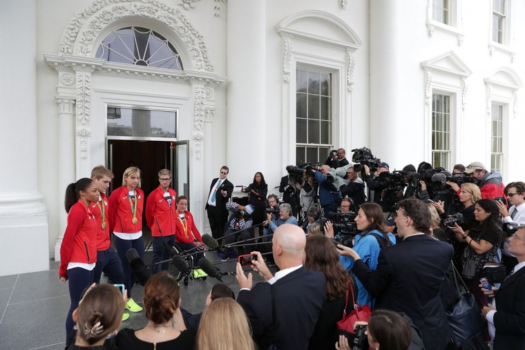 WASHINGTON, DC - SEPTEMBER 29: U.S. Olympians (L-R) Allyson Felix, Connor Fields, Katie Ledecky, Brad Snyder and Tatyana McFadden speak to members of the media at the North Portico after an East Room event at the White House September 29, 2016 in Washington, DC. President Barack Obama and first lady Michelle Obama welcome the 2016 U.S. Olympic and Paralympic teams to the White House to honor their participation and success in the Rio Olympic Games this year. (Photo by Alex Wong/Getty Images)