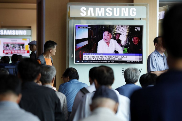 South Koreans watch TV news reporting the North Korea's nuclear test at the Seoul Railway Station on September 9, 2016 in Seoul, South Korea. North Korea is suspected of carrying out its fifth nuclear test, after a magnitude 5.3 earthquake was detected close to its Punggye-ri test site. It is North Korea's National Day today, celebrating the start of the leadership regime. (Photo by Woohae Cho/Getty Images)