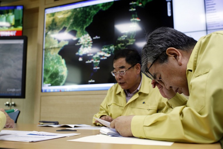 Researchers check the seismic waves that were measured in South Korea at the Earthquake and Volcano Monitoring Division on September 9, 2016 in Seoul, South Korea. North Korea is suspected of carrying out its fifth nuclear test, after a magnitude 5.3 earthquake was detected close to its Punggye-ri test site. It is North Korea's National Day today, celebrating the start of the leadership regime. (Photo by Woohae Cho/Getty Images)