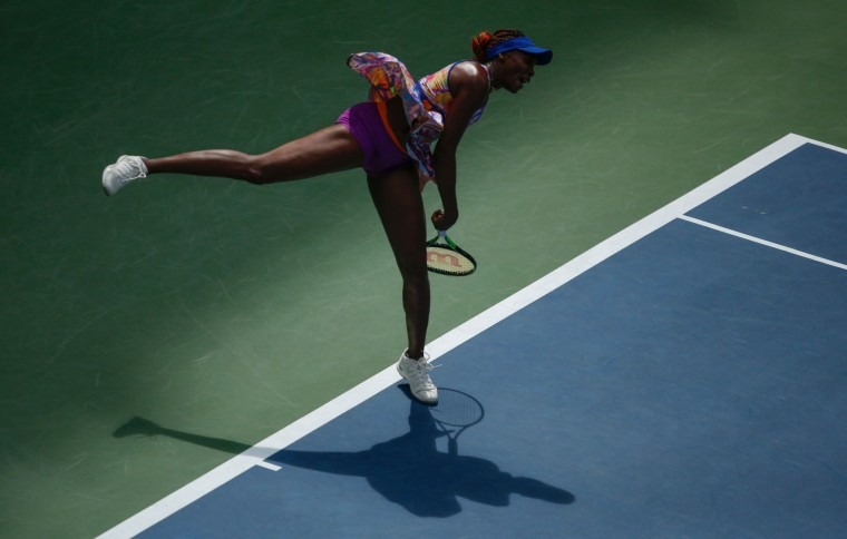 Venus Williams of United States serves against Karolina Pliskova of Czech Republic during their 2016 US Open Women's Singles match at the USTA Billie Jean King National Tennis Center in New York on September 5, 2016. (Kena Betancur/AFP/Getty Images)