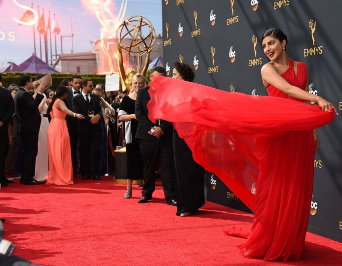 Actress Priyanka Chopra arrives for the 68th Emmy Awards on September 18, 2016 at the Microsoft Theatre in Los Angeles. (AFP PHOTO / Robyn Beck)