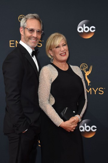 """Actor Michel Gill (L) and actress Jayne Atkinson from the serie """"House of Cards"""" arrive for the 68th Emmy Awards on September 18, 2016 at the Microsoft Theatre in Los Angeles. (AFP PHOTO / Robyn Beck)"""