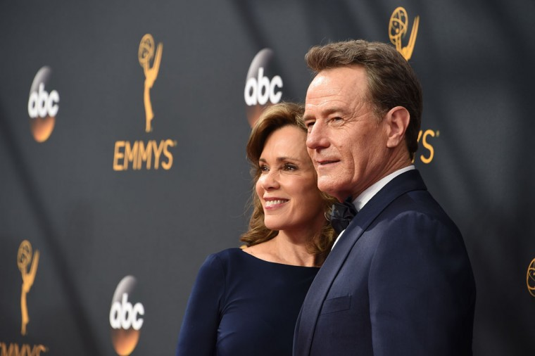 Actor Bryan Cranston and his wife, actress Robin Dearden, arrive for the 68th Emmy Awards on September 18, 2016 at the Microsoft Theatre in Los Angeles. (AFP PHOTO / Robyn Beck)