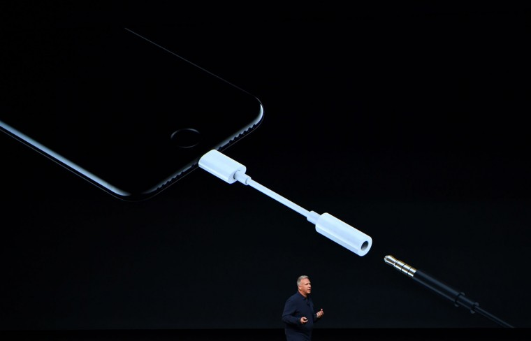 Apple Senior Vice President of Worldwide Marketing Phil Schiller speaks on stage during a media event at Bill Graham Civic Auditorium in San Francisco, California on September 07, 2016. (Edelson/AFP/Getty Images)