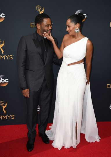 Anthony Anderson, left, and Tracee Ellis Ross arrive at the 68th Primetime Emmy Awards on Sunday, Sept. 18, 2016, at the Microsoft Theater in Los Angeles. (Photo by Jordan Strauss/Invision/AP)