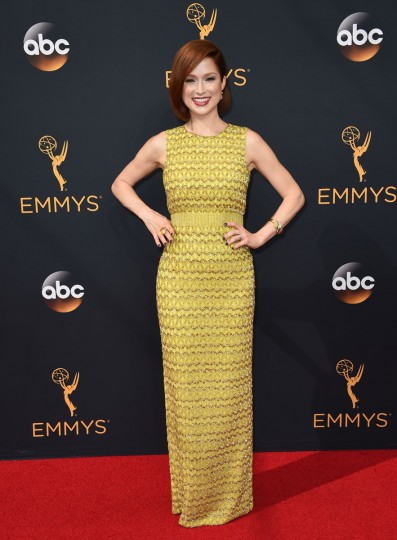 Ellie Kemper arrives at the 68th Primetime Emmy Awards on Sunday, Sept. 18, 2016, at the Microsoft Theater in Los Angeles. (Photo by Jordan Strauss/Invision/AP)