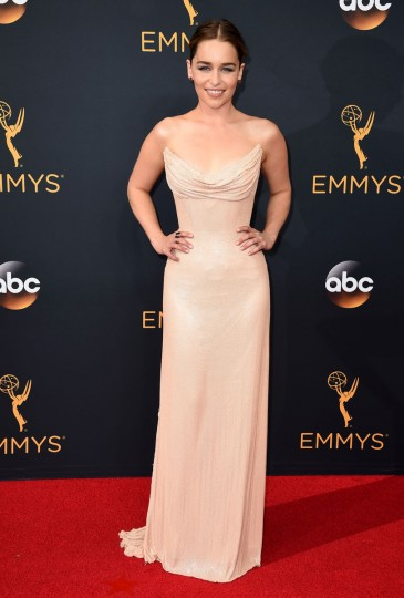 Emilia Clarke arrives at the 68th Primetime Emmy Awards on Sunday, Sept. 18, 2016, at the Microsoft Theater in Los Angeles. (Photo by Jordan Strauss/Invision/AP)