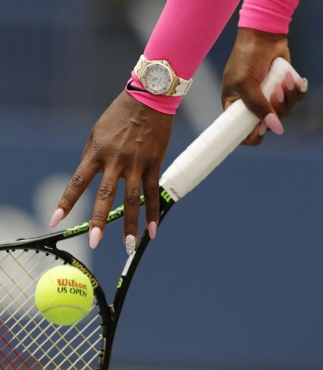 Serena Williams prepares to serve to Yaroslava Shvedova, of Kazakhstan, during the fourth round of the U.S. Open tennis tournament, Monday, Sept. 5, 2016, in New York. (AP Photo/Charles Krupa)