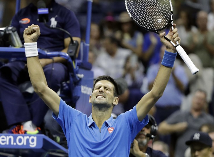 Novak Djokovic, of Serbia, celebrates after defeating Kyle Edmund, of Britain, in the fourth round of the U.S. Open tennis tournament, early Monday morning, Sept. 5, 2016, in New York. (AP Photo/Darron Cummings)