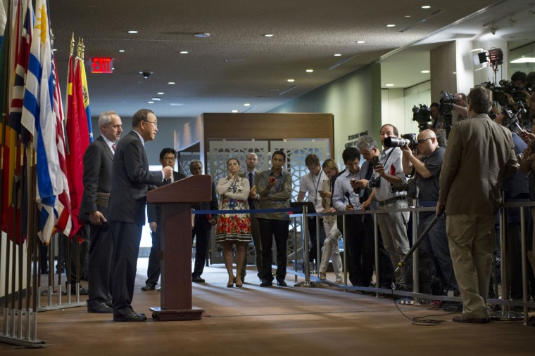 """United Nations Secretary General Ban Ki-moon speaks to reporters at United Nations headquarters, Friday Sept. 9, 2016. North Korea said it conducted a """"higher level"""" nuclear test explosion on Friday that will allow it to finally build an array of stronger, smaller and lighter nuclear weapons. Ban Ki-moon has condemned the test and urged the Security Council, """"to unite and take urgent actions."""" (Rick Bajornas/United Nations via AP)"""