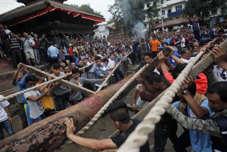 Nepalese devotees prepare to erect a wooden pole in front of the ancient royal palace on the beginning of the week-long Indra Jatra festival at Basantapur Durbar Square in Kathmandu, Nepal, Tuesday, Sept. 13, 2016. Indra is considered the Hindu god of rain and the festival marks the end of the rainy season. (AP Photo/Niranjan Shrestha)