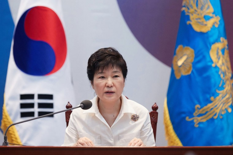 """South Korean President Park Geun-hye speaks during an emergency meeting to discuss follow-up measures to respond to North Korea's nuclear test at the presidential house in Seoul, South Korea, Friday, Sept. 9, 2016. North Korea said it conducted a """"higher level"""" nuclear test explosion on Friday that will allow it to finally build """"at will"""" an array of stronger, smaller and lighter nuclear weapons. It was the North's fifth atomic test and the second in eight months. (Baek Seung-ryul/Yonhap via AP)"""