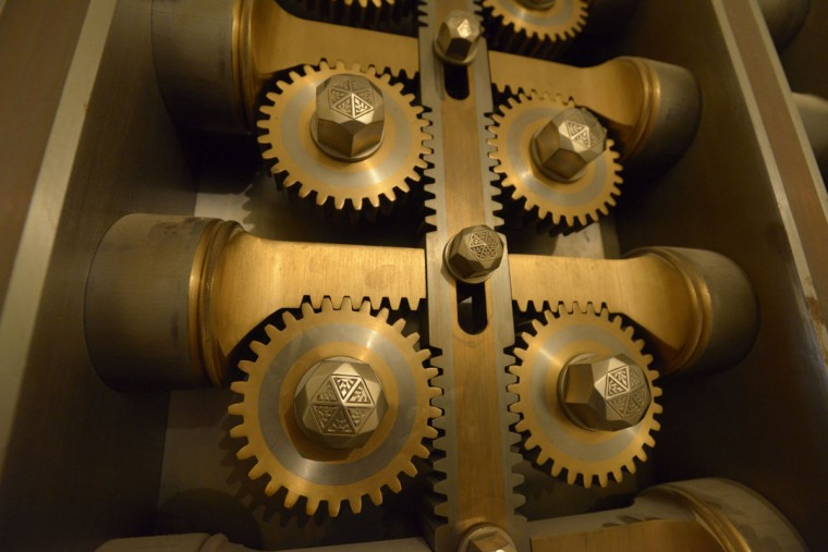 A closeup of the gears of the vault beneath the old Federal Reserve bank in Baltimore, today the Lenore. At the time of the bank's opening in 1928, the vault was reported to be one of the safest in the country. (Christina Tkacik/Baltimore Sun)
