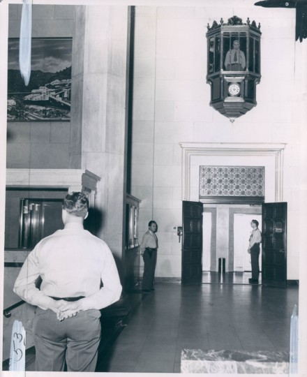 Guards at the Federal Reserve Bank in Baltimore. The tower stands to this day, keeping watch over the lobby at the Lenore apartments. (Cochran/Baltimore Sun)