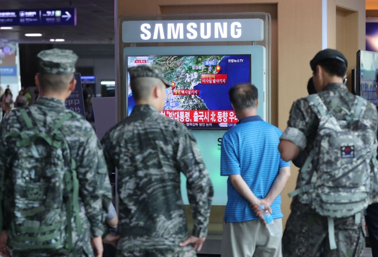 People watch a TV broadcast of an artificial earthquake in North Korea being detected at Seoul Station on Sept. 9, 2016. The European-Mediterranean Seismological Center said the same day that a magnitude 5 earthquake was detected near North Korea's nuclear test site in its northeastern region. A South Korean government source said it sees a high possibility that North Korea conducted a nuclear test on the occasion of its founding anniversary. (Yonhap News/Newscom/Zuma Press/TNS)