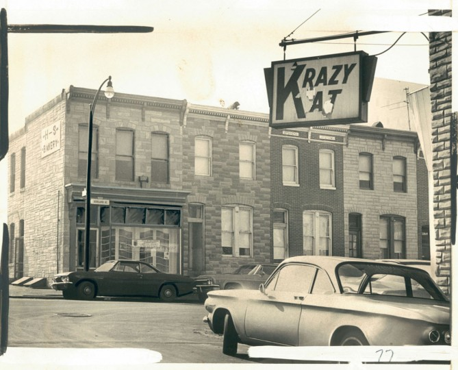 "A 1967 photo shows the decline of what had once been the heart of the Czech community in Baltimore. ""The Krazy Kat was the Svedja jewelry store and the Community Action Center was Klime's bakery when Ashland avenue was like a street in Bohemian Village,"" reads the caption. (Mortimer/Baltimore Sun)"