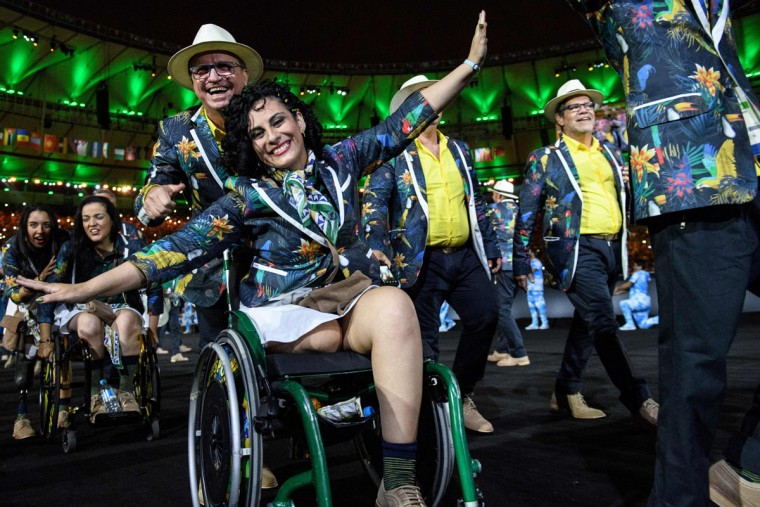 Members of Brazil's delegation enter during the opening ceremony of the Rio 2016 Paralympic Games at the Maracana stadium in Rio de Janeiro on September 7, 2016. (YASUYOSHI CHIBA/AFP/Getty Images)