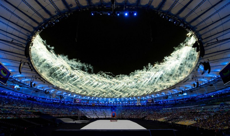 Fireworks around the roof of the Maracana Stadium during the Opening Ceremony of the Rio 2016 Paralympic Games at the Maracana Stadium in Rio de Janeiro, Brazil, on September 7, 2016. (Photo by Bob Martin/OIS/IOC via AFP)