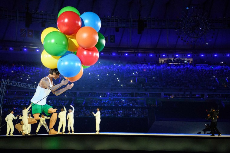 Performers operate a dummy during the opening ceremony of the Rio 2016 Paralympic Games at the Maracana stadium in Rio de Janeiro on September 7, 2016. (YASUYOSHI CHIBA/AFP/Getty Images)