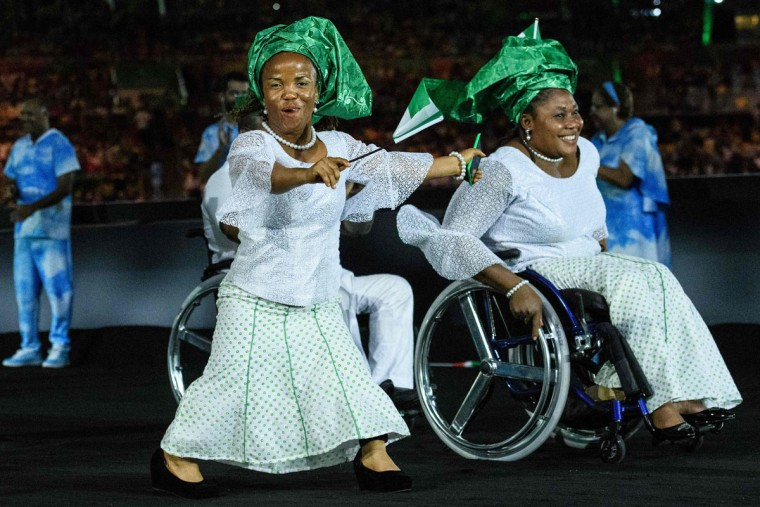 Members of Nigeria's delegation enter during the opening ceremony of the Rio 2016 Paralympic Games at the Maracana stadium in Rio de Janeiro on September 7, 2016. (YASUYOSHI CHIBA/AFP/Getty Images)