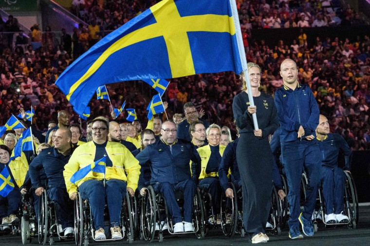 Members of Sweden's delegation enter during the opening ceremony of the Rio 2016 Paralympic Games at the Maracana stadium in Rio de Janeiro on September 7, 2016. (YASUYOSHI CHIBA/AFP/Getty Images)