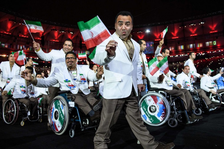 Members of Iran's delegation enter during the opening ceremony of the Rio 2016 Paralympic Games at the Maracana stadium in Rio de Janeiro on September 7, 2016. (YASUYOSHI CHIBA/AFP/Getty Images)