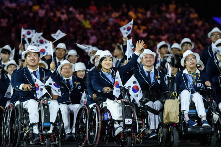 Members of South Korea's delegation enter during the opening ceremony of the Rio 2016 Paralympic Games at the Maracana stadium in Rio de Janeiro on September 7, 2016. (YASUYOSHI CHIBA/AFP/Getty Images)