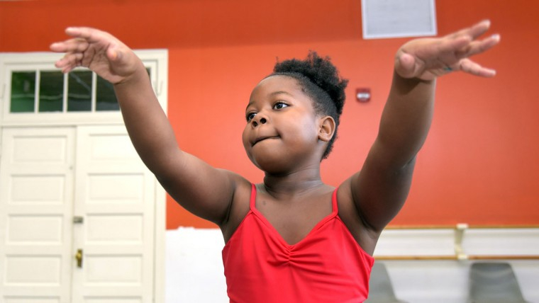Arielle Jones, 5, follows dance instructions in the pre-dance class. Students take classes at Rayn Fall Dance Studio (RFDS) located in the Eubie Blake National Jazz and Cultural Center. (Algerina Perna/Baltimore Sun)