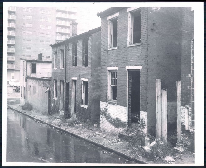 Vacant rowhouses, 1963. (Baltimore Sun)