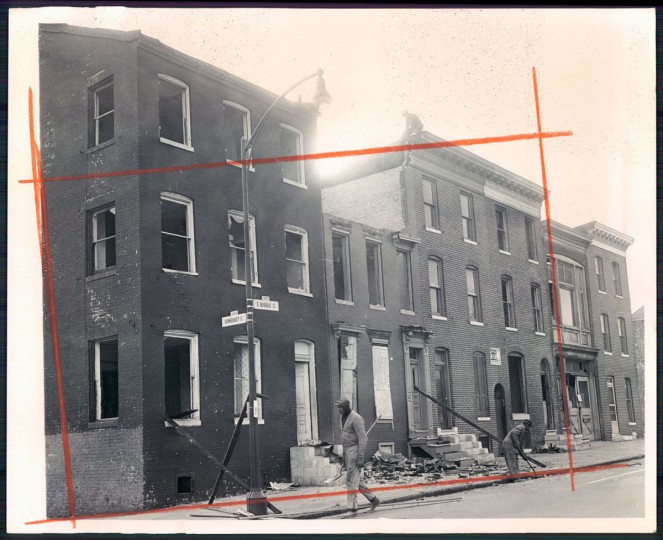 February 6, 1968 - Vacant houses on East Biddle Street ordered torn down by Mayor D' Alesandro. (Photo by Lloyd Pearson/Baltimore Sun)