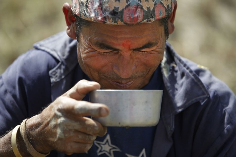 A Nepalese farmer drinks rice beer during a break while harvesting paddy in Chunnikhel, on the outskirts of Kathmandu, Nepal, Wednesday, Oct. 19, 2016. According to the World Bank, agriculture is the main source of food, income, and employment for the majority in Nepal. (AP Photo/Niranjan Shrestha)