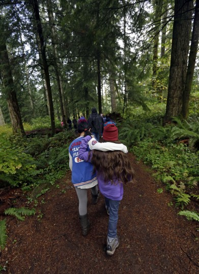 In this Oct. 6, 2016 photo, two Outdoor School students walk through the dense forest to a lesson at Camp Howard in Mount Hood National Forest near Corbett, Ore. The outdoor education is unique to Oregon and is a rite-of-passage for public school students that's meant to instill a respect for nature in each generation - studies show it improves attendance and boosts test scores. (AP Photo/Don Ryan)