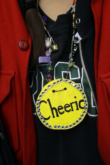 In this Oct. 6, 2016 photo, colorful name tags with made up names are worn by students during Outdoors School at Camp Howard in Mount Hood National Forest near Corbett, Ore. The outdoor education is unique to Oregon and is a rite-of-passage for public school students that's meant to instill a respect for nature in each generation - studies show it improves attendance and boosts test scores. (AP Photo/Don Ryan)