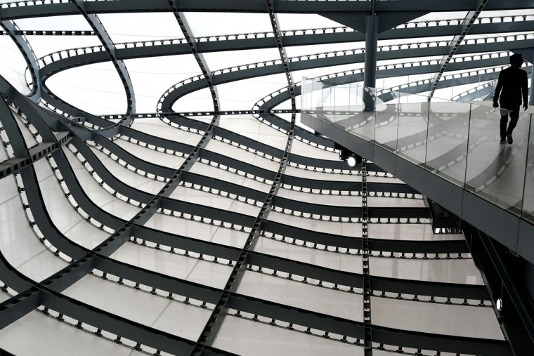 "A picture shows a part of the structure of the new Rome convention center named ""The cloud"" (""La Nuvola"" in Italian) designed by Italian architect Massimiliano Fuksas on October 19, 2016 in the Eur business district in Rome. The congress center will be inaugurated on October 29, 2016. (ALBERTO PIZZOLI/AFP/Getty Images)"