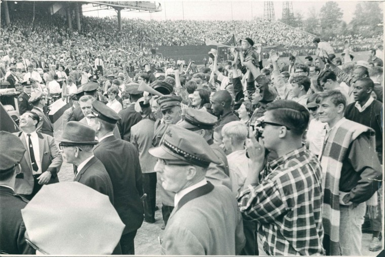 Orioles fans crowd field after game, October 10, 1966. (William L. LaForce / Baltimore Sun)