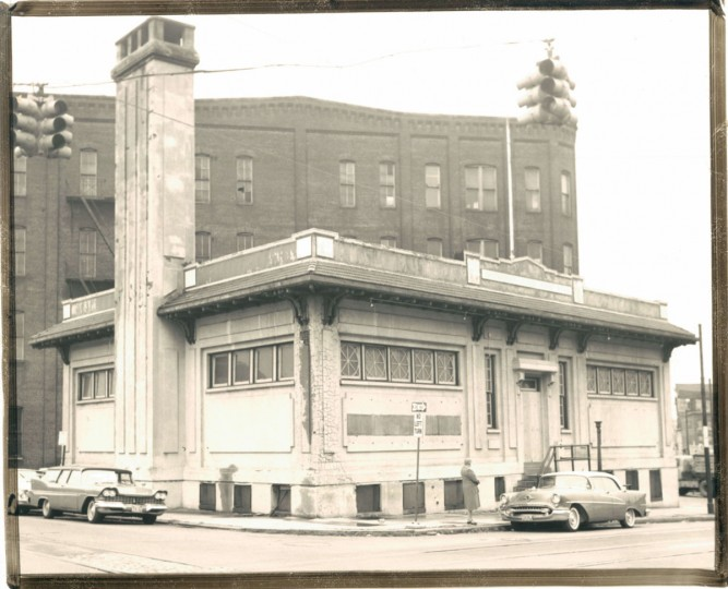 """VICTIM OF PROGRESS,"" read the caption to this 1962 photo of a bathhouse that had since been closed. ""This old public bath house at Greenmount avenue and Monument street, boarded up for the past three years, has fallen prey to vandals and will probably be demolished soon. The city's public baths were closed during the 1959 austerity drive."" (Edward Nolan/Baltimore Sun)"