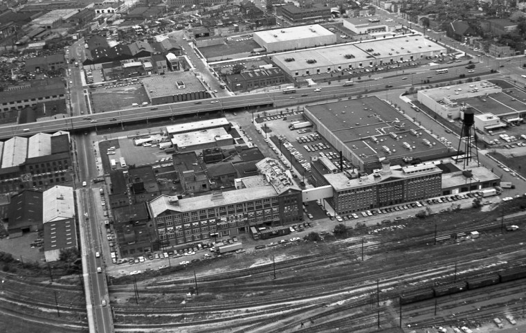 Back then it was the site of the Maryland Cup Corporation; today, it's M&T Stadium. Aerial view of Baltimore taken from the Goodyear Blimp in September 1973. (Marshall Janoff)