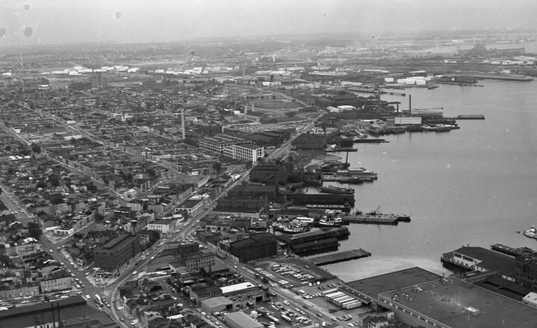 Aerial view of Canton along Boston Street. (Marshall Janoff)