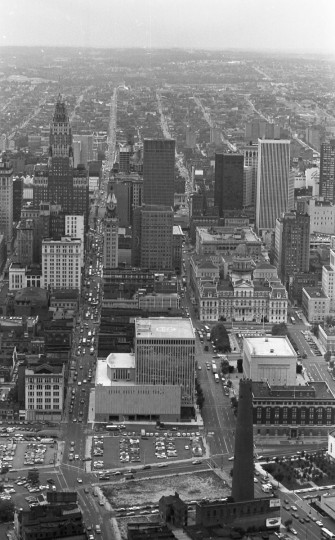 Aerial view of Baltimore taken from the Goodyear Blimp in September 1973. (Marshall Janoff)