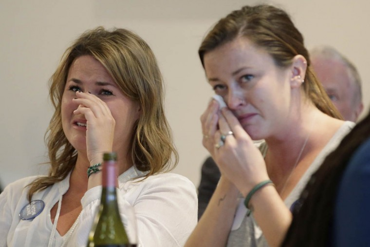 Democrat voters react to the election result at a 'Democrats Abroad' event on November 9, 2016 in Melbourne, Australia. Americans have gone to the polls today, November 8 in the U.S., to elect the 45th President of the United States. Hillary Clinton represents the Democrats and, if successful, would be the first woman president in American history. Donald Trump represents the Republicans and his campaign has been dogged by bad publicity, despite this the polls show that either of the two contenders could win with the election too close to call. There has been huge interest in the United States Election in Australia, with many people arranging viewing parties around the country to watch the results live. (Photo by Darrian Traynor/Getty Images)