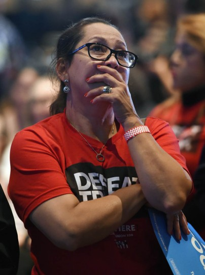 Hillary Clinton supporter Irayda Torrez reacts as she watches the presidential election swing in favor of Donald Trump at the Nevada Democratic Party's election results watch party at the Aria Resort & Casino on November 8, 2016 in Las Vegas, Nevada. Donald Trump won the general election to become the next U.S. president. (Photo by Ethan Miller/Getty Images)