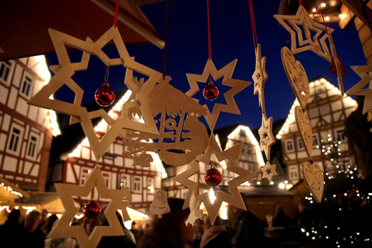 SCHLITZ, GERMANY - NOVEMBER 27: Wooden stars at a stall at the annual Christmas Market on November 26, 2016 in Schlitz, Germany. Christmas markets are opening across Germany this week in a tradition that dates back centuries. For the next four weeks the Christmas markets, which are usually located on the main square of the hosting town or village, will provide holiday cheer with mulled wine, sausages, Christmas ornaments and other delights. (Photo by Hannelore Foerster/Getty Images)