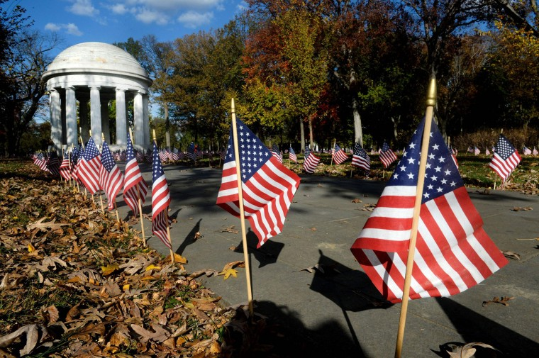 American flags are on display at the World War I Memorial to honor each of the 499 fallen DC area World War I veterans on November 11, 2016 in Washington, DC. (Olivier Douliery/AFP/Getty Images)
