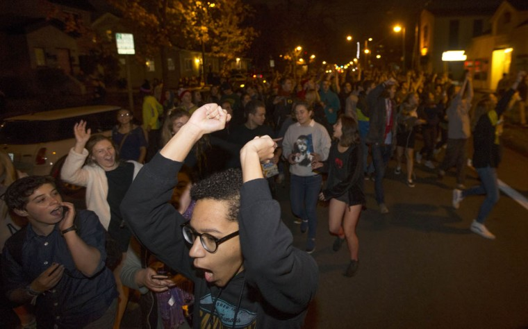 Protesters against President-elect Donald Trump march down a street east of the University of Oregon campus in Eugene, Ore., Wednesday, Nov. 9, 2016. (Chris Pietsch/The Register-Guard via AP)