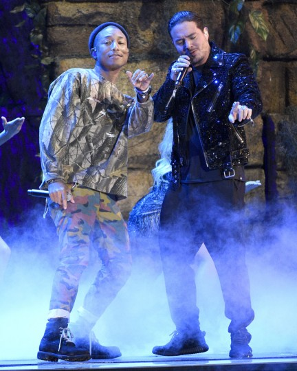"Pharrell Williams, left, and J Balvin perform ""Safari""at the 17th annual Latin Grammy Awards at the T-Mobile Arena on Thursday, Nov. 17, 2016, in Las Vegas. (Photo by Chris Pizzello/Invision/AP)"