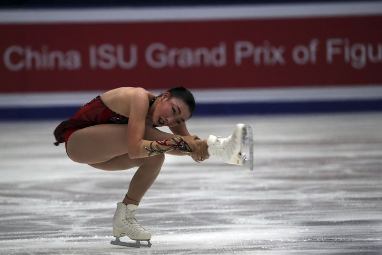 Rika Hongo of Japan competes in the Ladies Short Program of the Audi Cup of China ISU Grand Prix of Figure Skating 2016 held in Beijing's Capital Gymnasium in Beijing, China, Friday, Nov. 18, 2016. (AP Photo/Ng Han Guan)